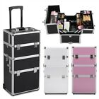 Professional Large Makeup Rolling Trolley 2-in-1  4 Wheel Aluminum Beauty Case
