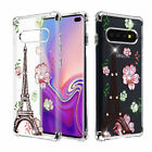 For Samsung Galaxy S10 Plus Clear Flower Slim Rubber Slim TPU Rubber Case Cover