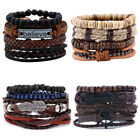 Punk Leather 4pcs Wristband Cuff Men Women Braided Bangle Bracelet Wrap Beads Au