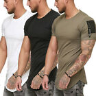 Men's Gym Muscle T Shirt Casual Crew Neck Short Sleeve Sports Top Slim Fit Tee image