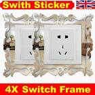 4pcs Silver Mirror Flower Light Switch Surround Wall Sticker Cover Frame Decor R