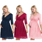 Womens Maternity Pregnant Floral Lace Overlay Lined Photography Dress Party Gown