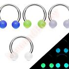 316L Surgical Steel Horse Shoe Bar Ring Glow Ball