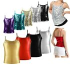 Girls Tank Top Sparkly Sequin Dancing Costume Tops T-Shirt Spaghetti Straps Tops