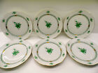 HEREND CHINESE BOUQUET GREEN  6 pieces DINNER PLATES ,524/AV,10 inches dia
