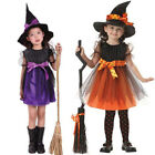 Toddler Kids Baby Girls Halloween Costume Witch Clothes Party Dress + Hat Outfit