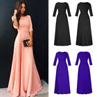 Women's Chiffon Slim Formal Evening Solid Prom Cocktail Wedding Swing Maxi Dress