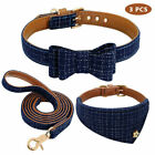 3pcs/set Puppy Dog Bowknot Kitten Cat Collar Soft Leather Leash For Small Pet US
