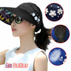 Women Golf Cap Beach Hat Roll Up Sun Wide Brim Summer Foldable Visor Ladies
