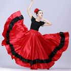 Ladies Satin Dance Skirt Spanish Flamenco Modern Ruffle Ballroom Costume Classic