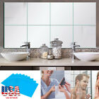 6 Pack 3d Adhesive Squre Mirror Tile Wall Stickers Mosaic Room Makeup Home Decor