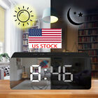 USB LED Digital Mirror Alarm Clock Night Lights Wall Clock With Date Thermometer