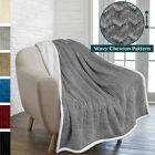 Soft Fuzzy Warm Cozy Throw Blanket with Sherpa Fleece Reversible Chevron Pattern image
