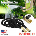 25 50 100 FT Flexible Expandable Water Hose Garden Hose Pipe Spray +Brass Valve