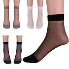 3 Pairs Mens Thin Silk Stockings Sheer Short Over Ankle Stretchy Socks Seamless
