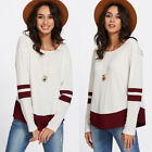 Fashion Women Long Sleeve Striped T-Shirt Casual Loose Tops Blouse Shirts