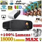 4K 1080P HD WiFi 3D LED Mini Video Theatre Projector Home Cinema 18000LM HDMI