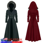 Gothic Vintage Womens Hooded Long Jacket Steampunk Victorian Trench Cape Coat US