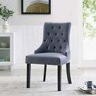 Velvet or Fabric Studded Dining Chair Accent Wing Button Back Occasional Chair