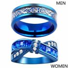 Blue Plated Couple Rings Titanium Steel Mens Ring Blue CZ Women's Wedding Band image