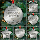 Personalised First Christmas as Mummy and Daddy Tree Decoration New Parents Gift