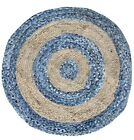 Excel Hand Woven Braided 100% Cotton Area Rug in Multi Color Jute Chindi Denim