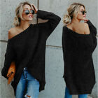 Plus Size Women Off Shoulder Slouch Sweater Long Sleeve Loose Casual Jumper Tops