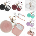 For Apple Airpods Charging Case 2&1 Earphone Airpod Cover with Key chain Pompom image