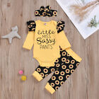 Infant Baby Girl Clothes Set Romper Jumpsuit + Flower Pants + Headband Outfit US