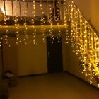 Warm White Christmas LED Icicle Curtain Light Outdoor Fairy String Lamp US Stock