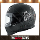 T14B Full Face Motorcycle Helmet Bluetooth Street Dual Visor Flat Black Wings XL