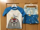 New Carter's Walrus Rash Guard Shirt Trunk Shorts Swim 2pc Set UPF 50 Boy