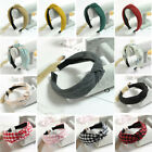 US Women Floral Turban Headband Fashion Plaid Twisted Casual Knotted Hair Band
