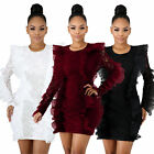 New Women Ruffled Splicing Bodycon Cocktail Party Evening Club Lace Wrap Dress