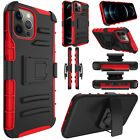 For iPhone 12 Pro Max 5G Case Shockproof Belt Clip Holster Cover With Kickstand
