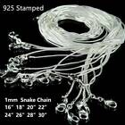 """Lots 10pcs Silver Plated 1mm Snake Chain Necklace Jewelry Set 16""""--28"""" Wholesale"""