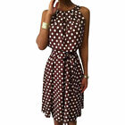 Plus Size Women Spotted Sleeveless Didi Dress Ladies Summer Holiday Casual Dress