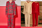 [Milky Peko]Peko Long Sleeves Pajama Shirts & Pants Set Check & Ivory, Red Color