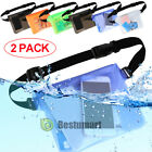 2PACK Waterproof Pouch Dry Bag Cover Case+Waist Strap For Beach Swimming Boating