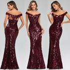 Ever-Pretty Women Sequins V Neck Formal Prom Dress Mermaid Evening Party Gown US
