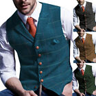 Groomsman Mens Vests Tweed Waistcoats Vintage Wool Herringbone Slim Notch Lapel