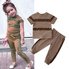 US Toddler Baby Girl Clothes Leopard T-Shirt Tops Pants Sweatpants Summer Outfit