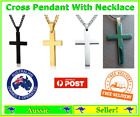 Cross Necklace Pendant Stainless Steel Black Silver Gold Chain Jewellery
