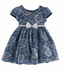 NWT Nannette Girls White Blue Silver Pink Necklace Metallic Lace Dress Easter