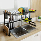2-Tier Over Sink Dish Drying Rack Stainless Steel Kitchen Shelf Drainer Large