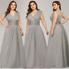 Ever-Pretty Plus Size Wrap V Neck Long Bridesmaid Dress A-Line Evening Prom Gown