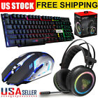 2mm Gaming Headset LED Stereo Headphones  LED Gaming Keyboard  Mouse Set