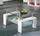 Rectangle Glass Coffee Table With Stroage Modern Living Room Furniture Chrome