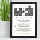Personalised Anniversary Poem Gifts for Couples Her Girlfriend Wife Boyfriend