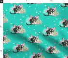 Chihuahua Black Teacup Tiny Dog Puppy Flowers Fabric Printed by Spoonflower BTY